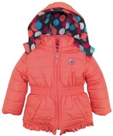 Pink Platinum Toddler Girls' Puffer Jacket with Big Dots Print Lining