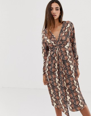 Asos Design DESIGN relaxed long sleeve midi dress with knot front in snake print-Multi