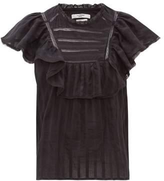 Etoile Isabel Marant Pleyel Ruffled Striped Cotton Blouse - Womens - Black