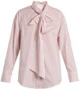 MSGM Striped tie-neck cotton shirt