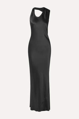 Helmut Lang Asymmetric Satin Gown - Charcoal
