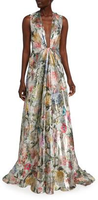 Monique Lhuillier Deep V-Neck Botanical-Print Lame Ball Gown
