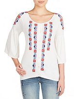 Peter Nygard Cold Shoulder Embroidered Top