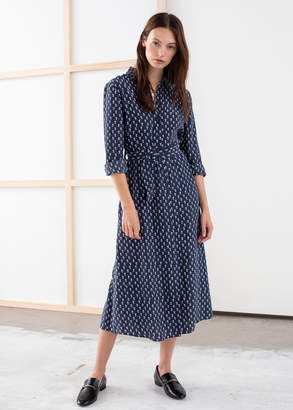 And other stories Belted Micro Floral Midi Dress