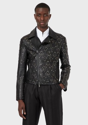 Emporio Armani Lambskin Nappa Leather Biker Jacket With All-Over Studs
