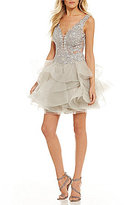 Ellie Wilde Embroidered Bodice Layered Fit-And-Flare Dress