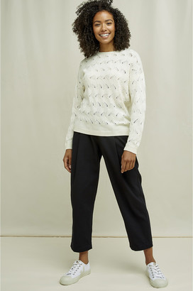 People Tree Cream Clyde Lace Knit Jumper - M