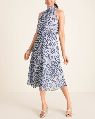 Adrianna Papell Animal-Print Halter-Neck Midi Dress