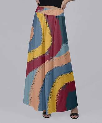 Beyond This Plane Women's Maxi Skirts RED - Red & Yellow Wavy Stripe Maxi Skirt - Women & Plus