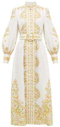 Zimmermann Super Eight Floral-print Linen Dress - Womens - White Print