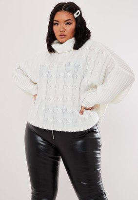 Missguided Plus Size White Roll Neck Balloon Sleeve Jumper