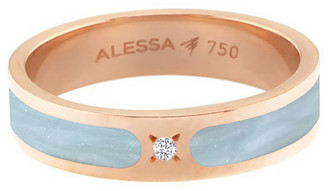 Alessa Jewelry Spectrum Painted 18k Rose Gold Stack Ring w/ Diamond, Light Blue, Size 8