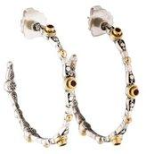 Konstantino Two-Tone Garnet Hoop Earrings