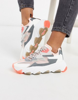 Ash Eclipse chunky panelled ripstop trainer in grey white and coral