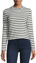 J Brand Jeans Harper Striped Long-Sleeve Crop Top, Black/Cream