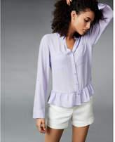 Express original fit ruffle hem solid portofino shirt