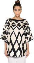 Marina Rinaldi Sequined Neckline Printed Silk Twill Top