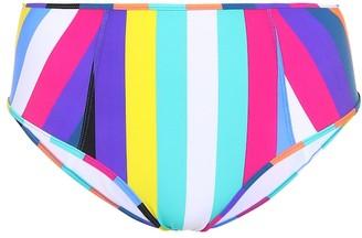 Diane von Furstenberg Striped high-waisted bikini bottoms