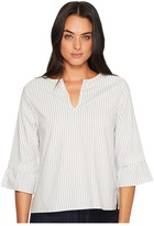 Michael Stars Fletcher Stripe V-Neck Ruffle Sleeve Top Women's Clothing