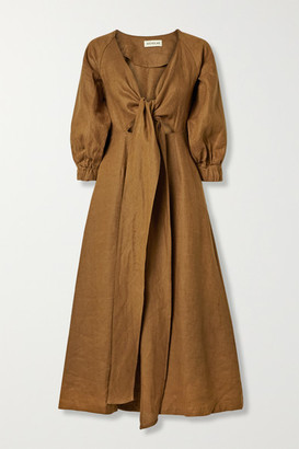 Nicholas Asilah Tie-front Linen Midi Dress - Brown