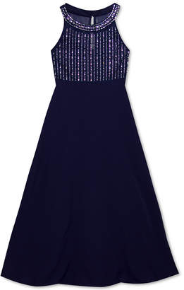 Rare Editions Big Girls Embellished Illusion Maxi Dress