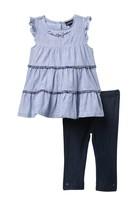 Calvin Klein Ruffled Blouse & Legging Set (Little Girls)
