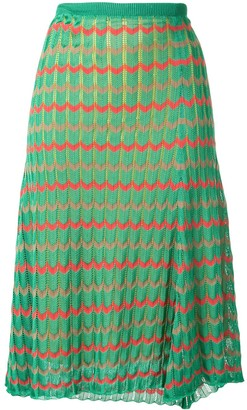 Kolor Chevron Pattern Knitted Skirt