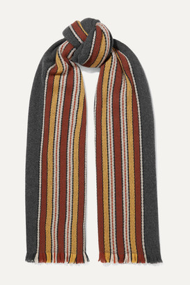 Loro Piana Striped Fringed Cashmere Scarf - Green