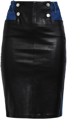 Each X Other Button-detailed Leather-paneled Denim Pencil Skirt