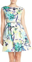 Eliza J Belted Faille Fit & Flare Dress