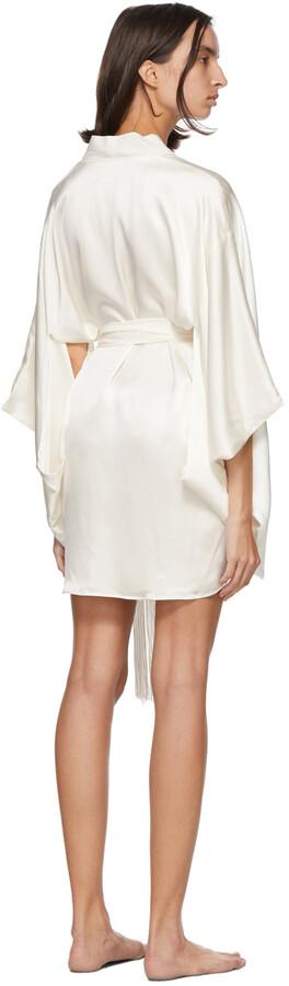 Thumbnail for your product : Kiki de Montparnasse Off-White Silk Kimono Robe