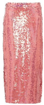 Raey Sequinned Midi Pencil Skirt - Womens - Pink