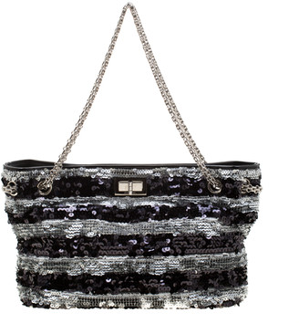 Chanel Black/Silver Stripe Sequins Reissue Shoulder Bag