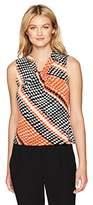 Calvin Klein Women's Diagonal Printed Knot Neck Cami