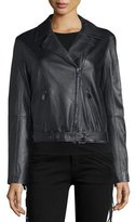 Haute Hippie Lamb Leather Lace Up Fringe Jacket, Black