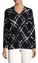 Escada Lattice-Print Wool Top