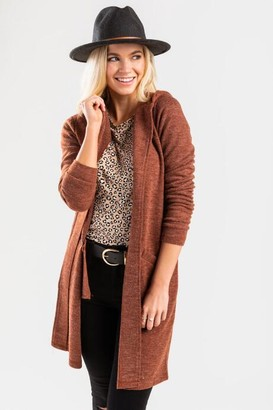 francesca's Terrai Hooded Cardigan - Rust