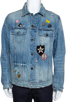 Thumbnail for your product : Amiri Blue Distressed Denim Pink Floyd Jacket XL