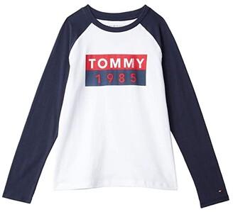 Tommy Hilfiger Abstract Flag Long Sleeve T-Shirt (Bid Kids) (Bright White) Boy's Clothing