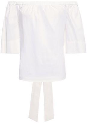 Diane von Furstenberg Fatima Off-the-shoulder Bow-detailed Stretch Cotton-poplin Blouse