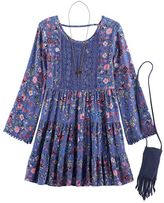 Knitworks Girls 7-16 Floral Bell Sleeve Boho Tiered Dress with Fringe Crossbody Cell Phone Purse & Necklace