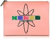 Kenzo Pink Leather Nasa Clutch w/Embossed Rubberized Logo