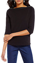 Westbound Petites Boat Neck 3/4 Sleeve Solid Top