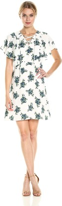 Kensie Women's Mini Bouquet Floral Design Dress with Ruffled Sleeves