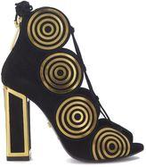 Kat Maconie Vera Sandal In Golde Suede And Gold Laser Cut Metallic Swirls