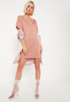 Missguided Petite Pink Rose Wide Neck T-Shirt Dress
