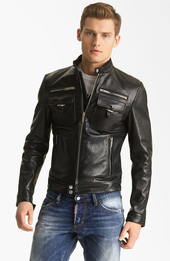 DSquared Dsquared2 'Chic' Leather Moto Jacket