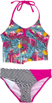 Big Chill Pink Flamingo Fringe-Accent Tankini - Girls