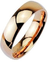 MJ Metals Jewelry 316L Stainless Steel 6mm Wide Mirror Polished Rose Gold IP Dome Band Ring Size 12