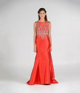 Unique Vintage Red Embellished Cap Sleeve Long Mermaid Gown